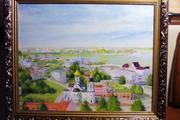 Картина панорамный вид от нижегородского кремля на скобу и стрелку