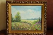 Картина с летним пейзажем в полях