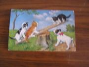 Поздравительная открытка Котята и щенок. Польша